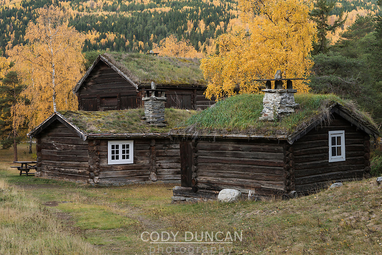 Historic wood building in Presthaugen Open Air Museum, Lom, Oppland, Norway