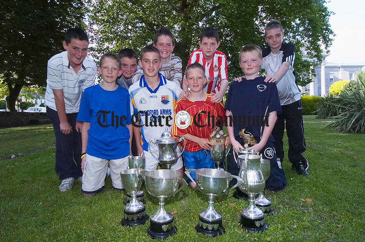 Avenue United's schoolboys team captains, Eoin Keenan, Mark Roche, Evan Greer, Donal O Halloran, Eanna Fennell, Gary Roche, Cian Darcy, Kevin Barron  and Billy Slattery pictured after the Avenue United presenmtation of awards in Ennis. Photograph by John Kelly.