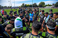Hurricanes assistant coach Jason Holland talks to the backs at halftime during the Super Rugby preseason match between the Hurricanes and Crusaders at Levin Domain in Levin, New Zealand on Saturday, 2 February 2019. Photo: Dave Lintott / lintottphoto.co.nz