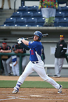Paul Hoenecke (22) of the Rancho Cucamonga Quakes bats during a game against the Lake Elsinore Storm at LoanMart Field on April 10, 2016 in Rancho Cucamonga, California. Lake Elsinore defeated Rancho Cucamonga, 7-6. (Larry Goren/Four Seam Images)