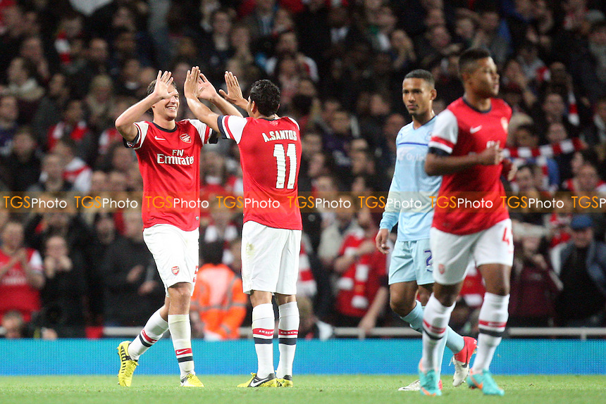 Ignasi Miquel of Arsenal celebrates scoring the fifth goal - Arsenal vs Coventry City at the Emirates  Stadium  - 26/09/12 - MANDATORY CREDIT: Dave Simpson/TGSPHOTO - Self billing applies where appropriate - 0845 094 6026 - contact@tgsphoto.co.uk - NO UNPAID USE.