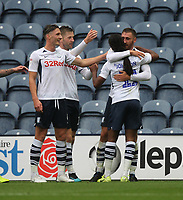 Preston North End's Louis Moult celebrates scoring his sides second goal <br /> <br /> Photographer Mick Walker/CameraSport<br /> <br /> The EFL Sky Bet Championship - Preston North End v Wigan Athletic - Saturday 10th August 2019 - Deepdale Stadium - Preston<br /> <br /> World Copyright © 2019 CameraSport. All rights reserved. 43 Linden Ave. Countesthorpe. Leicester. England. LE8 5PG - Tel: +44 (0) 116 277 4147 - admin@camerasport.com - www.camerasport.com