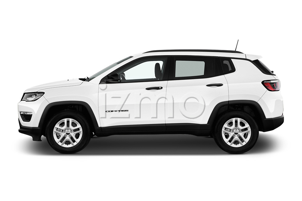 Car driver side profile view of a 2017 Jeep Compass Sport 2wd 5 Door SUV