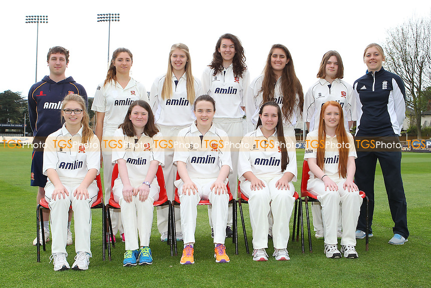 Essex CCC Girls Under-17 Performance Squad Team Photo with Heather Knight - Essex CCC Women & Girls Press Day at the Essex County Ground, Chelmsford - 11/04/14 - MANDATORY CREDIT: Gavin Ellis/TGSPHOTO - Self billing applies where appropriate - 0845 094 6026 - contact@tgsphoto.co.uk - NO UNPAID USE