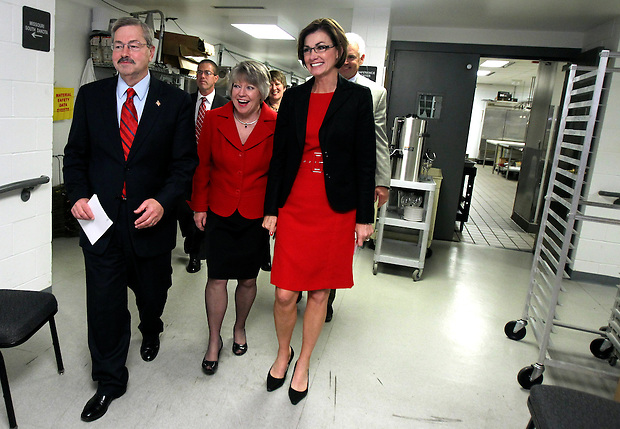 Governor-elect Terry Branstad, his wife, Chris, and Kim Reynolds arrive backstage to celebrate victory Tuesday night.  Republican Party election night rally at the Hy-Vee Conference Center in West Des Moines on Tuesday night, November 2, 2010.