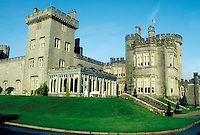 The impressive Dromoland Castle or Manor raises majestically beyond a green, manicured lawn. This is one of the great castle or manor house hotels of Ireland. Shannon, Ireland.