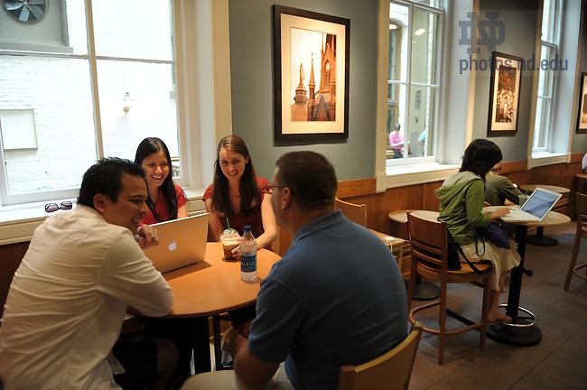 Grad students in Starbuck's in LaFortune Student Center