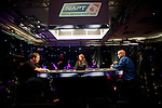 Heads Up between Joe Tehan, blue shirt, and Christopher DeMaci , black shirt, on the NAPT Los Angeles Main Event final table.