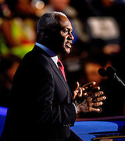 Former Charlotte, North Carolina Mayor Harvey Gantt addresses the crowd during a rally to mark the year-out anniversary of the 2012 Democratic National Convention at Time Warner Cable Arena in Charlotte, North Carolina,