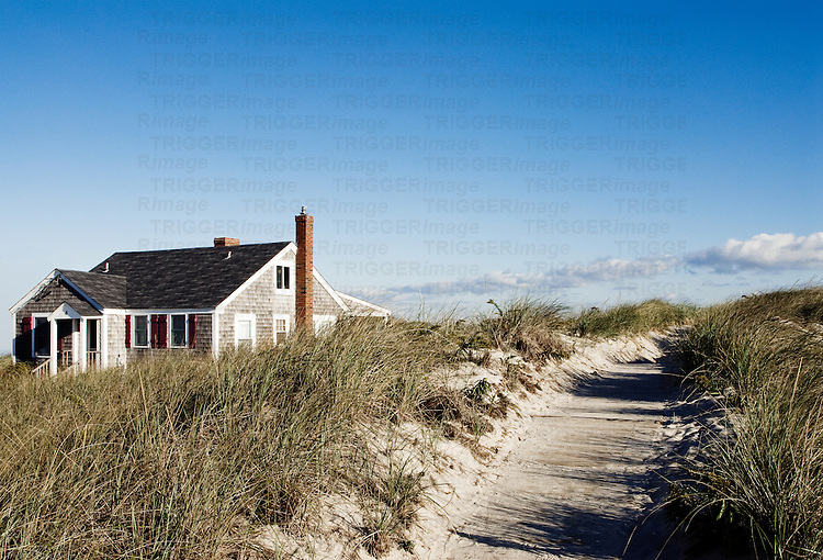 Beach cottage and dune grass, Yarmouth, Cape Cod, Massachusetts, USA