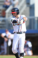Beau Philip (4) of the Danville Braves in action during a game against the Bluefield Blue Jays at American Legion Post 325 Field on July 28, 2019 in Danville, Virginia. The Blue Jays defeated the Braves 9-7. (Tracy Proffitt/Four Seam Images)