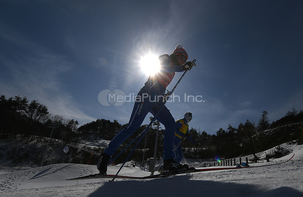Cross-country skiers from Finland in action during training in the Alpensia Cross-country Skiing Centre in Pyeongchang, South Korea, 07 February 2018. The Pyeongchang 2018 Winter Olympics take place between 09 and 25 February. Photo: Hendrik Schmidt/dpa-Zentralbild/dpa /MediaPunch ***FOR USA ONLY***