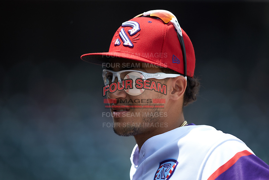 Winston-Salem Rayados shortstop Laz Rivera (16) during the game against the Potomac Nationals at BB&T Ballpark on August 12, 2018 in Winston-Salem, North Carolina. The Rayados defeated the Nationals 6-3. (Brian Westerholt/Four Seam Images)