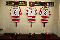 Kingstonian shirts, shorts and socks hang ready for the players arrival during Kingstonian vs AFC Fylde, Emirates FA Cup Football at King George's Field on 30th November 2019