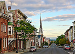 View of Warren Street, Hudson, New York, at dawn. This photo appeared in the November 2013 edition of Architectural Digest, in an article on Hudson in the Travels section.