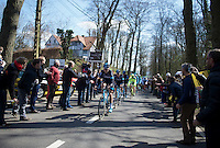 Christian Knees (DEU/SKY) leads his teammates &amp; the peloton over the 1st hill of the day: Tiegemberg<br /> <br /> 99th Ronde van Vlaanderen 2015