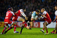 Jamie Roberts of Harlequins takes on the Grenoble defence. European Rugby Challenge Cup semi final, between Harlequins and Grenoble on April 22, 2016 at the Twickenham Stoop in London, England. Photo by: Patrick Khachfe / JMP