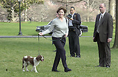 First Lady Laura Bush walks her dog, Spot, across the South Lawn of the White House to the helicopter waiting to take her and the United States President George W. Bush to Camp David for the week-end on March 30, 2001.<br /> Credit: Ron Sachs / CNP