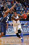 BROOKINGS, SD - NOVEMBER 3:  Chris Howell #3 from South Dakota State tries to get a step past Jamall Taylor #3 from SD School of Mines in the first half of their exhibition game Thursday evening at Frost Arena in Brookings. (Photo by Dave Eggen/Inertia)