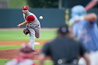 North Carolina State Wolfpack starting pitcher Brian Brown (38) delivers a pitch to the plate against the North Carolina Tar Heels in Game Twelve of the 2017 ACC Baseball Championship at Louisville Slugger Field on May 26, 2017 in Louisville, Kentucky.  The Tar Heels defeated the Wolfpack 12-4 to advance to the semi-finals.  (Brian Westerholt/Four Seam Images)