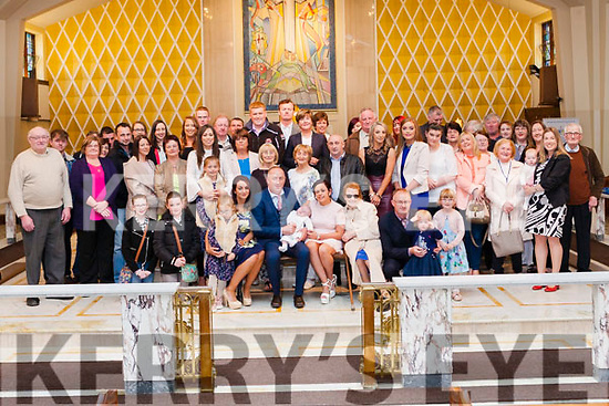 Baby Aidan O' Donnell who was christened last Saturday evening in the Church of the Assumption Abbeyfeale pictured with his parents Maria & D.J., Godparents Batt O' Donnell & Clair O' Shea , grandparents Nora O' Donnell, Sheila & Tim O' Shea and extended family & friends. The ceremony was officiated by Fr. Paddy Bowen.
