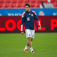 Chicago Fire midfielder Marco Pappa #16 warms up during an MLS game between the Chicago Fire and the Toronto FC at BMO Field in Toronto on May 14, 2011..The game ended in a 2-2 draw.