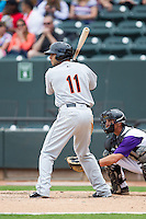 Jason Esposito (11) of the Frederick Keys at bat against the Winston-Salem Dash at BB&T Ballpark on May 18, 2014 in Winston-Salem, North Carolina.  The Dash defeated the Keys 7-6.  (Brian Westerholt/Four Seam Images)