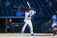 Surprise Saguaros center fielder Khalil Lee (15), of the Kansas City Royals organization, at bat in front of catcher Daulton Varsho (8) during an Arizona Fall League game against the Salt River Rafters on October 9, 2018 at Surprise Stadium in Surprise, Arizona. Salt River defeated Surprise 10-8. (Zachary Lucy/Four Seam Images)
