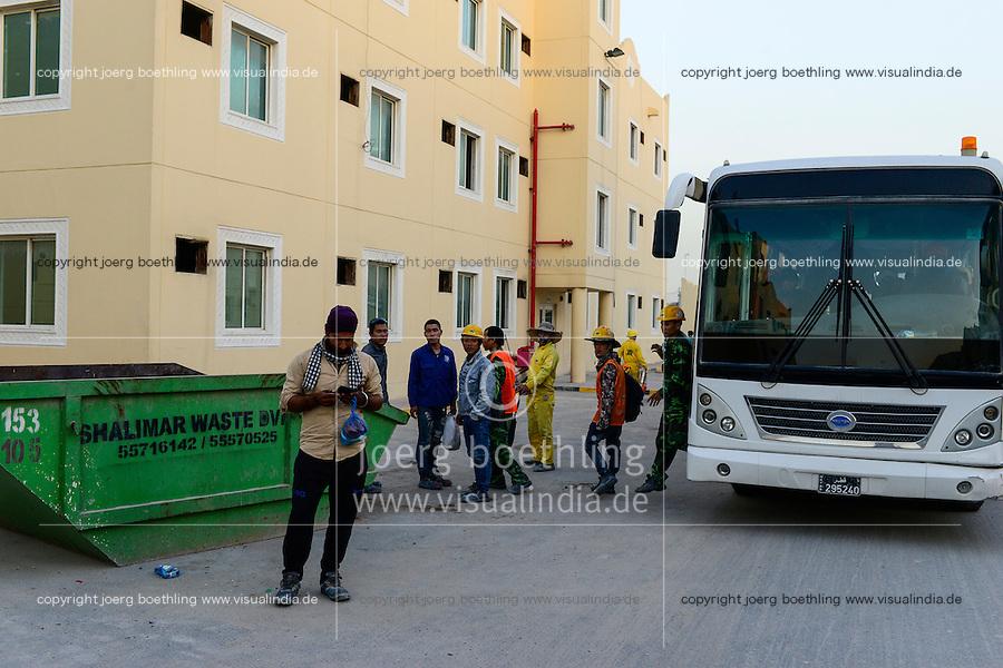 QATAR, Doha, housing complex for migrant worker outside the city / KATAR, Doha, Gastarbeiter, Sammelunterkunft fuer Gastarbeiter ausserhalb der Stadt, transfer per Bus zwischen Baustelle und Unterkunft