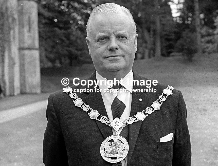 Councillor Robert Topping, Mayor of Bangor, Co Down, N Ireland, May 1970, 1970050176b<br /> <br /> Copyright Image from Victor Patterson,<br /> 54 Dorchester Park, Belfast, UK, BT9 6RJ<br /> <br /> t1: +44 28 90661296<br /> t2: +44 28 90022446<br /> m: +44 7802 353836<br /> <br /> e1: victorpatterson@me.com<br /> e2: victorpatterson@gmail.com<br /> <br /> For my Terms and Conditions of Use go to<br /> www.victorpatterson.com