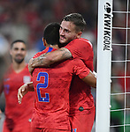 Jordan Morris (right) of the United States is hugged by teammate Nick Lima after he scored in the second half during an international friendly game against Uruguay on September 10, 2019 at Busch Stadium in St. Louis, Missouri USA<br /> AFP Photo by Tim VIZER