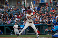 Frisco RoughRiders Preston Beck (8) bats during a Texas League game against the Amarillo Sod Poodles on May 17, 2019 at Dr Pepper Ballpark in Frisco, Texas.  (Mike Augustin/Four Seam Images)