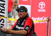 Apr 24, 2015; Baytown, TX, USA; NHRA  funny car driver Cruz Pedregon during qualifying for the Spring Nationals at Royal Purple Raceway. Mandatory Credit: Mark J. Rebilas-