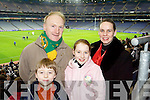 Football fans John Jnr, John, Claire and Phil Crowley from Ardfert at the Intermediate Football Club Championship Final in Croke Park on Saturday evening..