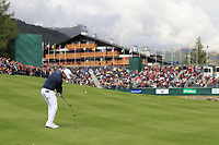 Lucas Bjerregaard (DEN) plays his 2nd shot on the 18th hole during Sunday's Final Round of the 2017 Omega European Masters held at Golf Club Crans-Sur-Sierre, Crans Montana, Switzerland. 10th September 2017.<br /> Picture: Eoin Clarke | Golffile<br /> <br /> <br /> All photos usage must carry mandatory copyright credit (&copy; Golffile | Eoin Clarke)