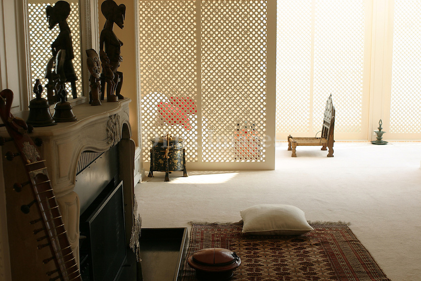 ethnic style living room with fireplace