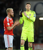 Wales' Wayne Hennessey looks dejected at the final whistle <br /> <br /> Photographer Ian Cook/CameraSport<br /> <br /> FIFA World Cup Qualifying - European Region - Group D - Wales v Republic of Ireland - Monday 9th October 2017 - Cardiff City Stadium - Cardiff<br /> <br /> World Copyright &copy; 2017 CameraSport. All rights reserved. 43 Linden Ave. Countesthorpe. Leicester. England. LE8 5PG - Tel: +44 (0) 116 277 4147 - admin@camerasport.com - www.camerasport.com