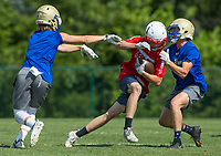 NWA Democrat-Gazette/BEN GOFF @NWABENGOFF<br /> Colton Shaver (left), Harrison free safety, and Sebastian Diffey, Harrison linebacker, tag Payton Byerley, Glendale (Mo.) receiver, Thursday, July 11, 2019, during the Border Battle 7-on-7 Tournament, in partnership with the Pro Football Hall of Fame Scholastic 7v7 series, at Branson (Mo.) High School's Pirates Stadium.