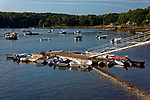 Round Pond in Bristol, Maine, USA, with dingies and work boats.