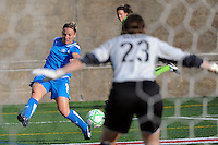 Amy Rodriguez (8) of the Boston Breakers crosses the ball in front of Sky Blue FC goalkeeper Jenni Branam (23) during a WPS regular season match at Harvard Stadium in Boston, MA, on July 12, 2009.