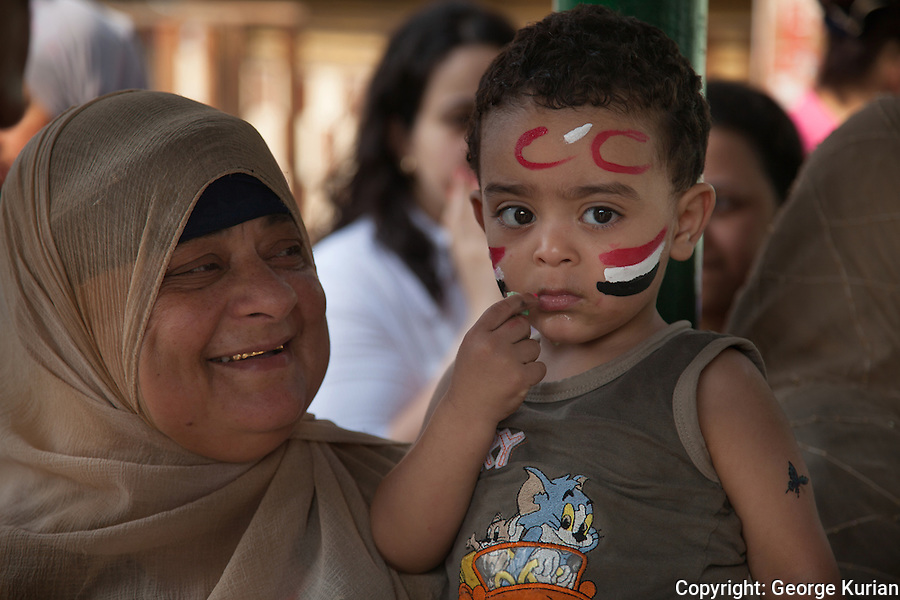 Outside a polling station in Shubra, Cairo.<br />