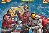#99 JDC/Miller Motorsports ORECA 07, P: Stephen Simpson, Mikhail Goikhberg, Chris Miller, #6 Acura Team Penske Acura DPi, P: Dane Cameron, Juan Pablo Montoya, podium, champagne