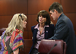 Nevada Assembly Republicans, from left, Jill Dickman, Robin Titus and Chris Edwards talk before the start of an Assembly Ways and Means committee hearing at the Legislative Building in Carson City, Nev., on Friday, May 29, 2015. Lawmakers continue to work long hours as the approch Monday's end of session deadline. <br /> Photo by Cathleen Allison