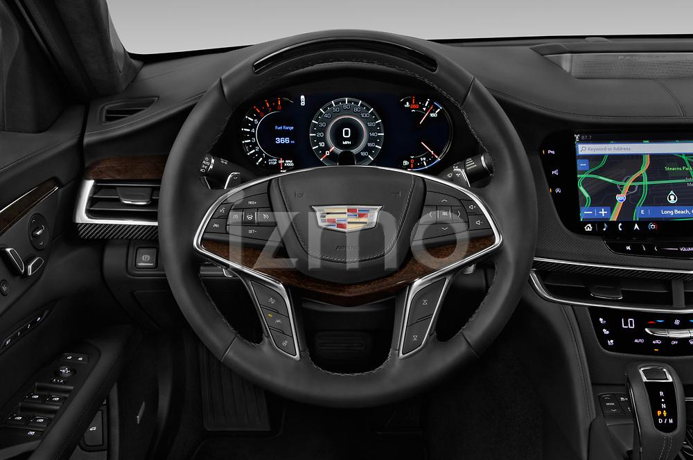 Car pictures of steering wheel view of a 2019 Cadillac CT6 Platinum 4 Door Sedan Steering Wheel