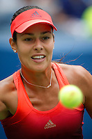 Ana Ivanovic of Serbian looks at the ball after being returned by Dominika Cibulkova of Slovak during their match at the Arthur Ashe stadium during the US Open 2015 Tennis Tournament in New York. 08.31.2015.  Eduardo MunozAlvarez/VIEWpress.
