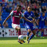 Joshua Onomah of Aston Villa and Loic Damour of Cardiff City during the Sky Bet Championship match between Cardiff City and Aston Villa at the Cardiff City Stadium, Cardiff, Wales on 12 August 2017. Photo by Mark  Hawkins / PRiME Media Images.