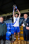 Jubilant St Mary's Captain Sean Cournane lifts the Munster Intermediate Cup in Killarney with their win over Cork Champions Carrigaline 1-16 to 0-9.