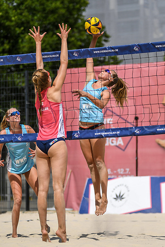 27th June 2020, Dusseldorf, Germany; The German Beach Volleyball League;  Antonia Stautz tips over the net