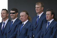 European Team members l-r Soren Hansen, Padraig Harrington, Miguel Angel Jimenez, Robert Karlsson and Graeme McDowell, during the opening ceremony on Practice Day2 of the Ryder Cup at Valhalla Golf Club, Louisville, Kentucky, USA, 18th September 2008 (Photo by Eoin Clarke/GOLFFILE)
