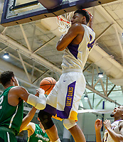 University at Albany men's basketball defeats Binghamton University 71-54  at the  SEFCU Arena, Feb. 27, 2018.  Alex Foster (#34) dunks. (Bruce Dudek / Cal Sport Media/Eclipse Sportswire)